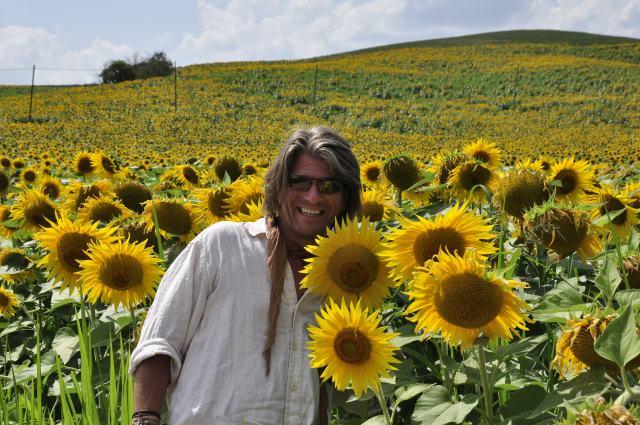Sunflowers as big as Gary's head!