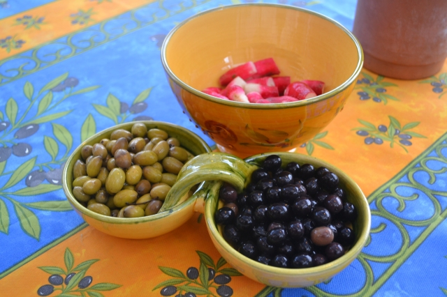Summer classics - your own homemade olives and fresh radishes from the market - eat daily :-)